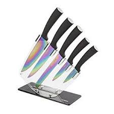 kitchen knives sets tower 5 knife set with acrylic stand black co uk