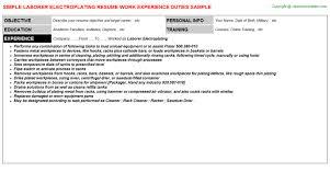 laborer electroplating resume sample