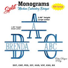 initial fonts for monogram split monograms machine embroidery designs monograms fonts bx