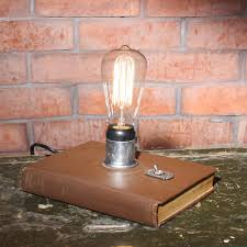 vintage book lamp with edison bulb teacher gift bedside lamp