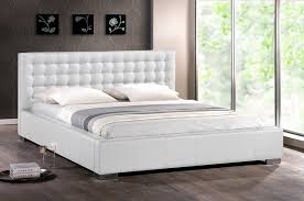 Madison White Modern Bed With Upholstered Headboard King Size - King size bedroom sets with padded headboard