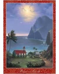 amazing deal on hawaiian christmas cards box of 10 peace on earth