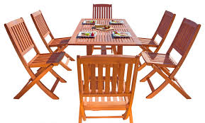 Folding Patio Dining Set Malibu Eco Friendly 7 Piece Wood Outdoor Dining Set With Foldable