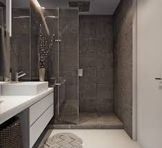 Dark Gray Bathroom by Two Efficient Apartments For Families With Two Children