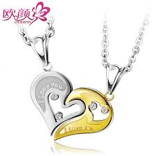 engraved pendants ouyan couples necklaces gold silver black blue interlocking
