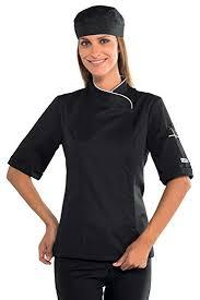vetement cuisine femme isacco veste cuisine femme manches courtes et blanche amazon