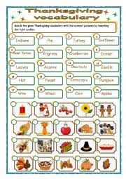 worksheets thanksgiving vocabulary matching