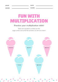 white with ice cream cone multiplication math games worksheet