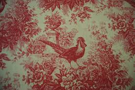 Upholstery Linen Fabric By The Yard Toile Country French Pheasant Bird Classic Printed Linen Fabric