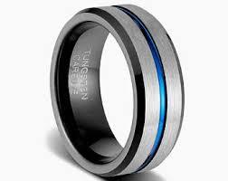 Mens Wedding Rings Black by Black Tungsten Ring Etsy