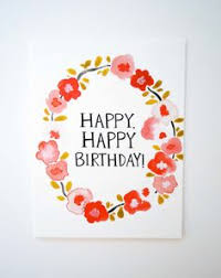 happy birthday cake u0026 candles card watercolor original
