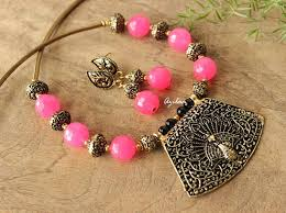 gemstone necklace sets images Pink gemstone necklace set antique gold plated jewellery online jpg