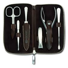 7 piece manicure set brown leather at swiss knife shop