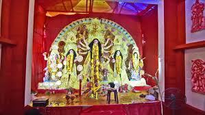 Decoration Of Durga Puja Pandal Kolkata India October 9 2016 Devotees Praying Inside Durga