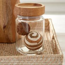 Glass Canisters Kitchen Artisan Glass Canisters With Oak Lids The Container Store