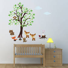 tree with woodland animals wall sticker by mirrorin tree with woodland animals wall sticker