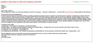 technical support offer letter
