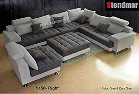 kitchen sectional sofas contemporary dining chairs furniture 5pc new modern gray microfiber big sectional sofa set