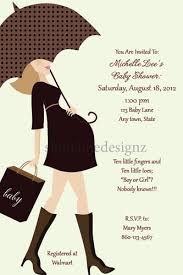 custom modern day baby shower invitation with brown dress