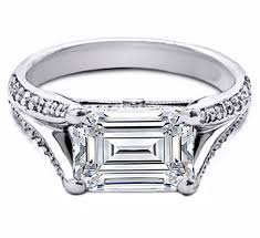 horizontal engagement rings from mdc diamonds nyc - Horizontal Emerald Cut Engagement Ring