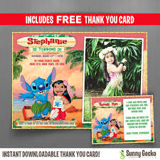 disney lilo and stitch 7x5 in birthday party invitation with free