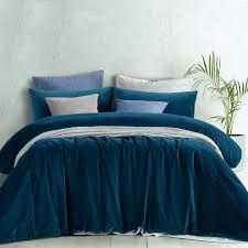 Best Bed Sheet Cotton Hq Home Decor Ideas Riverland Blue Cotton Velvet Quilt Cover Set By Euroluxe Linen