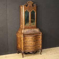 scrivanie stile antico trumeau ribalta scrittoio legno radica noce bombato scrivania