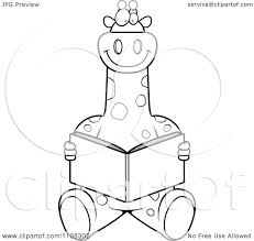 cartoon clipart of an outlined giraffe sitting and reading black