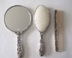 antique hair combs vintage antique collectible silver plated brush mirror hair
