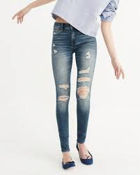 Light Wash Ripped Skinny Jeans Womens Jeans Abercrombie U0026 Fitch