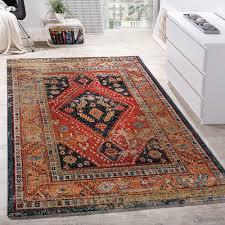 modern short pile designer rug oriental design black red turquoise