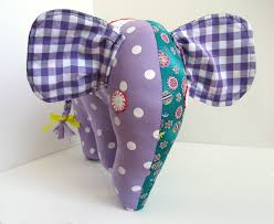 Handmade Nursery Decor by Stuffed Elephant Purple Green Handmade Baby Shower Gift