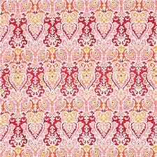 light pretty pink orange ornament design fabric from japan