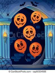 wall alcove with halloween balloons 1 eps10 vector vector