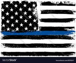 Usa Flag Vector American Flag With Thin Blue Line Grunge Aged Vector Image
