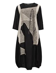 Plus Size Lagenlook Clothing Zele Embellished Linen Balloon Dress In Black Beige Lagenlook