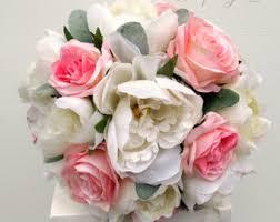Wedding Flowers Pink Burlap Rose Bouquet Etsy