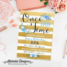 once upon a time baby shower invitation boy bridal shower gold