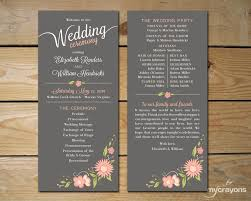 order wedding programs floral printable wedding program by mycrayonspapeterie