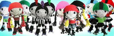 roller derby voodoo string doll keychain dress derby derby