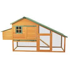 backyard chicken coops review pawhut deluxe backyard wooden chicken coop w run