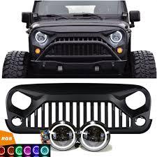 stock jeep headlights jeep jk projector headlights rgb halo u0026 vader grille combo pack
