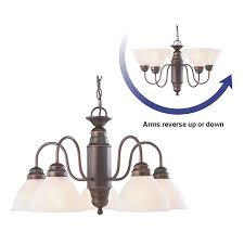 Alabaster Lighting Chandeliers Shop Portfolio 23 37 In 5 Light Oil Rubbed Bronze Country Cottage