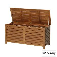 Outdoor Patio Cushion Storage Bench by Classic Patio Ideas With Brown Lacquered Wooden Outdoor Storage