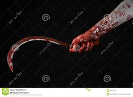 halloween theme background bloody hand holding sickle sickle bloody bloody scythe bloody