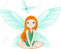 little cute fairy observes for flying butterfly royalty free