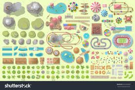 set landscape elements amusement park top stock vector 593195069