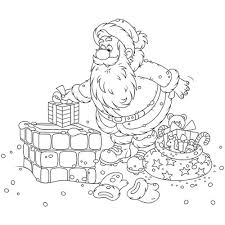 Le Père Noël sur la cheminée en coloriage à imprimer  Magicmamancom