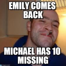Emily Meme - emily comes back good guy greg meme on memegen