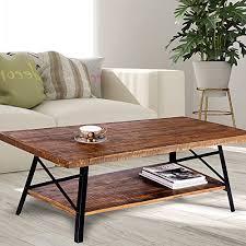 wood top coffee table metal legs olee sleep 46 chandler cocktail wood coffee table with natural